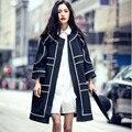 Mulheres Casacos Básicos Outono 2016 Moda Roupas Casaco Longo das Mulheres Costura Preto e Branco Jaqueta Corta-vento Abrigos Mujer