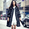 Women Basic Coats Autumn 2016 Fashion Long Coat Women's Clothing Black and White Stitching Jacket Windbreaker Abrigos Mujer