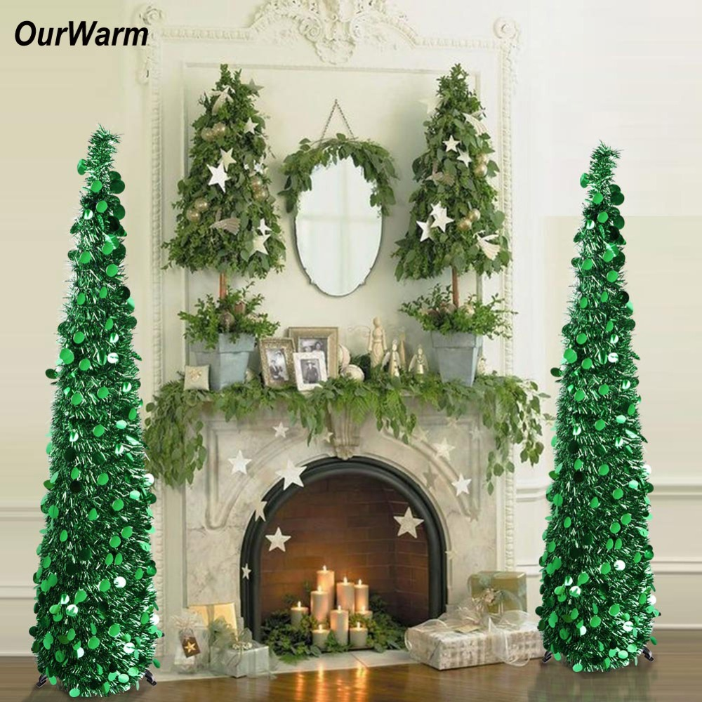 Silver Tinsel Pop Up Christmas Tree: OurWarm Artificial Tinsel Pop Up Christmas Tree Bling