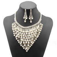 2018 Hot Sale Austrian Crystal Necklace Earring Sets Wedding Jewelry For Women Party Accessorie Pendientes Juego De Collar #N064