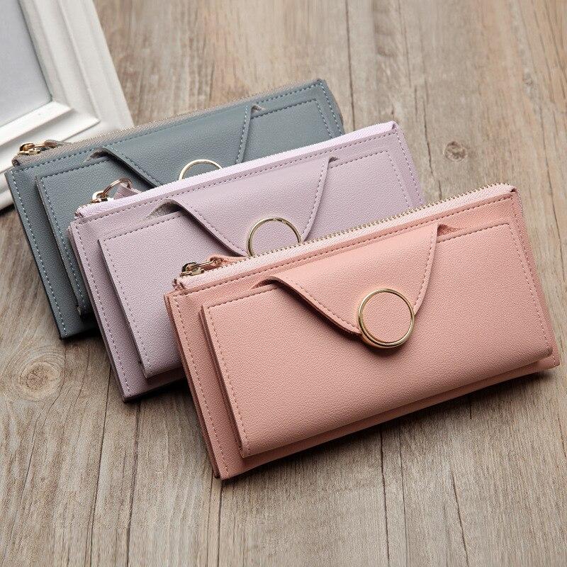 2019 New Wallet Women Leather Card Holders Pouch Women Wallets Zipper Coin Money Bag Phone Pocket Long Ladies Purse Clutch W263