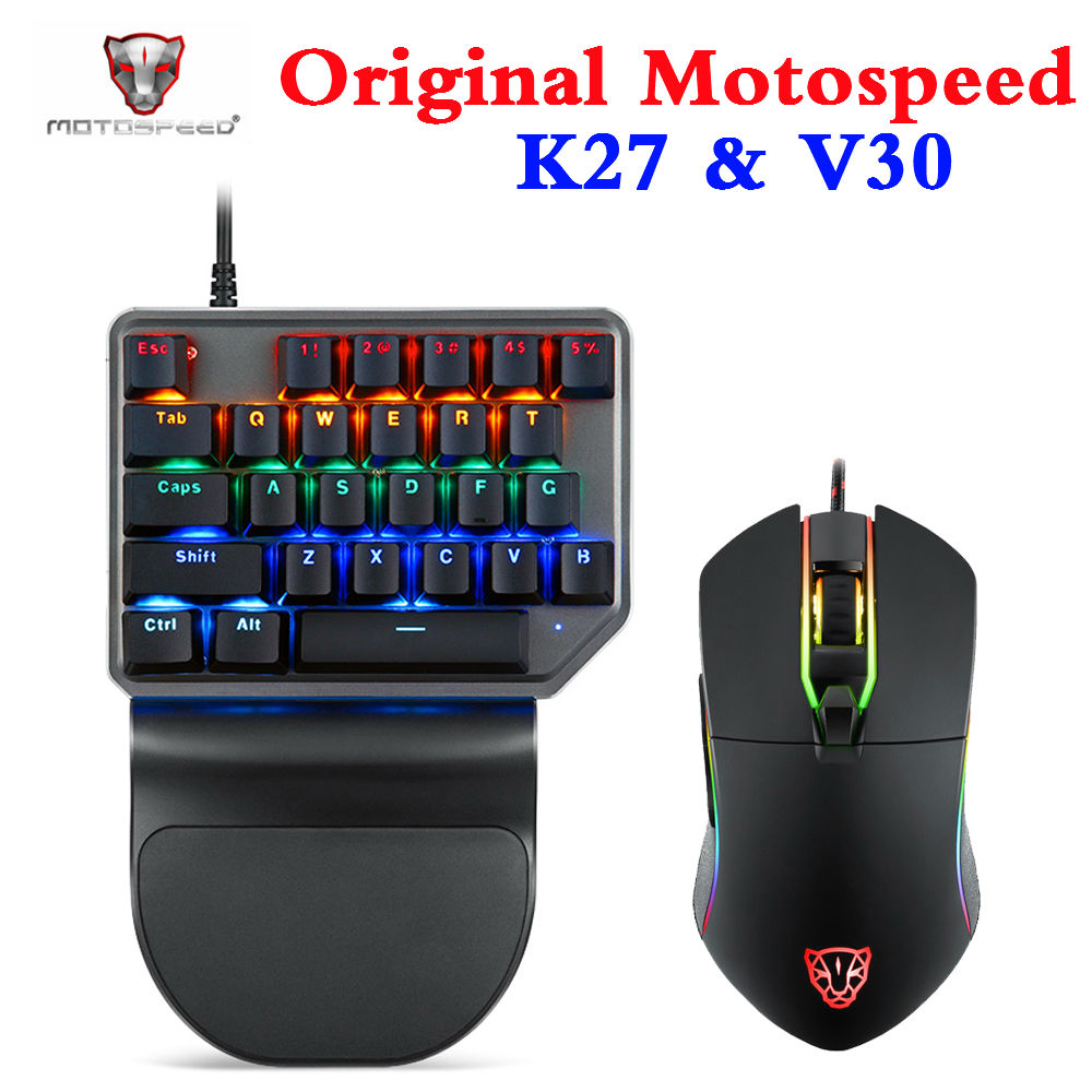 Original Motospeed K27 Mechanical Keyboard 27 Keys One-Handed Gaming Keyboard With V30 Wired Gaming Mouse For PUBG Overwatch LOL
