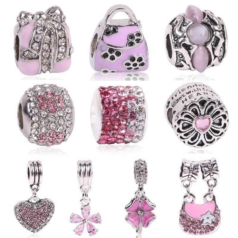 Ranqin Lovely Pink Beads Fit Original Pandora Bracelet Necklace Big Hole Diy Charms For Women Enamel