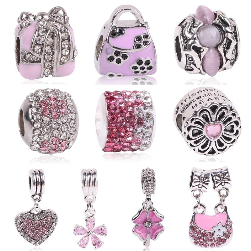 Ranqin Lovely Pink Beads Fit Original Pandora Bracelet Necklace Big Hole Diy Charms For Women Enamel Heart Shape Pendant