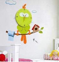 Novelty Mascot Owl Wall Clock 3D DIY Wall Sticker Cartoon Bee Decor Style Vinyl Real Clocks Home Decorative Children Gift