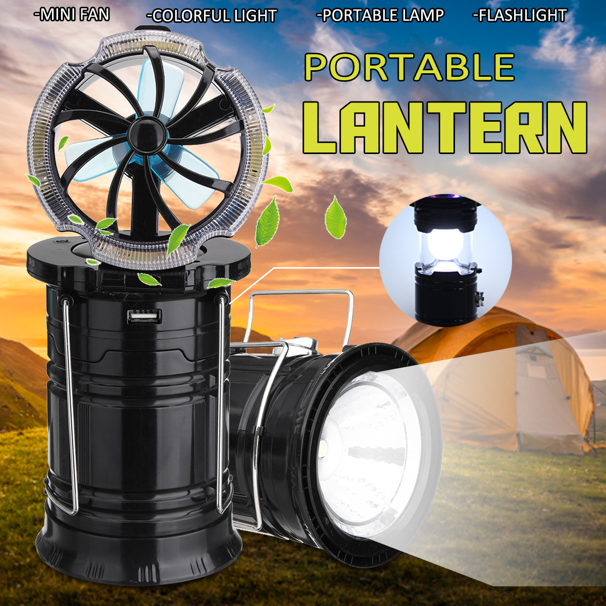 3 In1 LED Light Flashlight Mini Fan Hanging Lantern Collapsible Camping Emergenc Outdoor Travel Tent Portable Stretch Lamp 2 in 1 camping ceiling fan light hanging tent lamp lantern outdoor 18 led lamp s08 drop ship