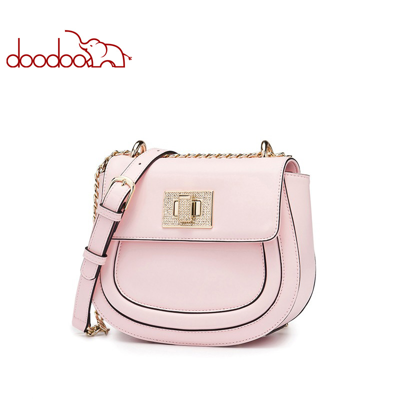 DOODOO Brand Fashion Women Bag Female Shoulder Crossbody Bags Ladies Artificial Leather Messenger Bags Chain Two Solid Colors