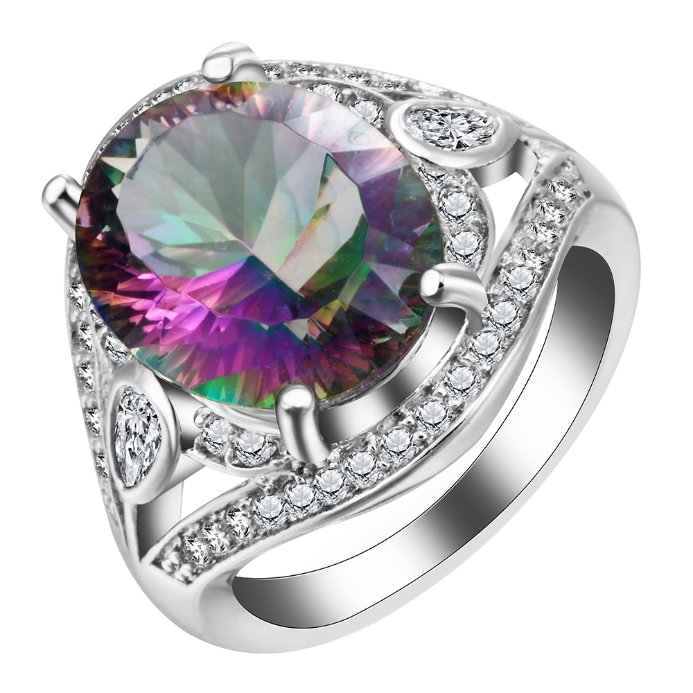 Luxury Mystic Rainbow Engagement Rings Fashion Jewelry For