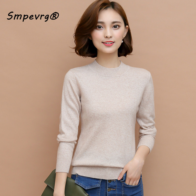 Smpevrg cashmere sweater female pullover long sleeve half high collar women sweater soft health jumper pullover