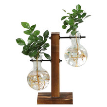 Terrarium Hydroponic Plant Vases Vintage Flower Pot Transparent Vase Wooden Frame Glass Tabletop Plants Home Bonsai Decor(China)
