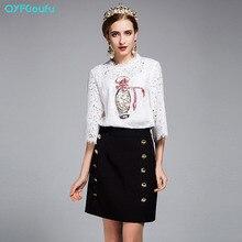2017 Designer Runway Women's 2 Piece Set White Sequin Lace Blouse Shirt + Summer Button Casual Office Pencil Skirt Set Suit