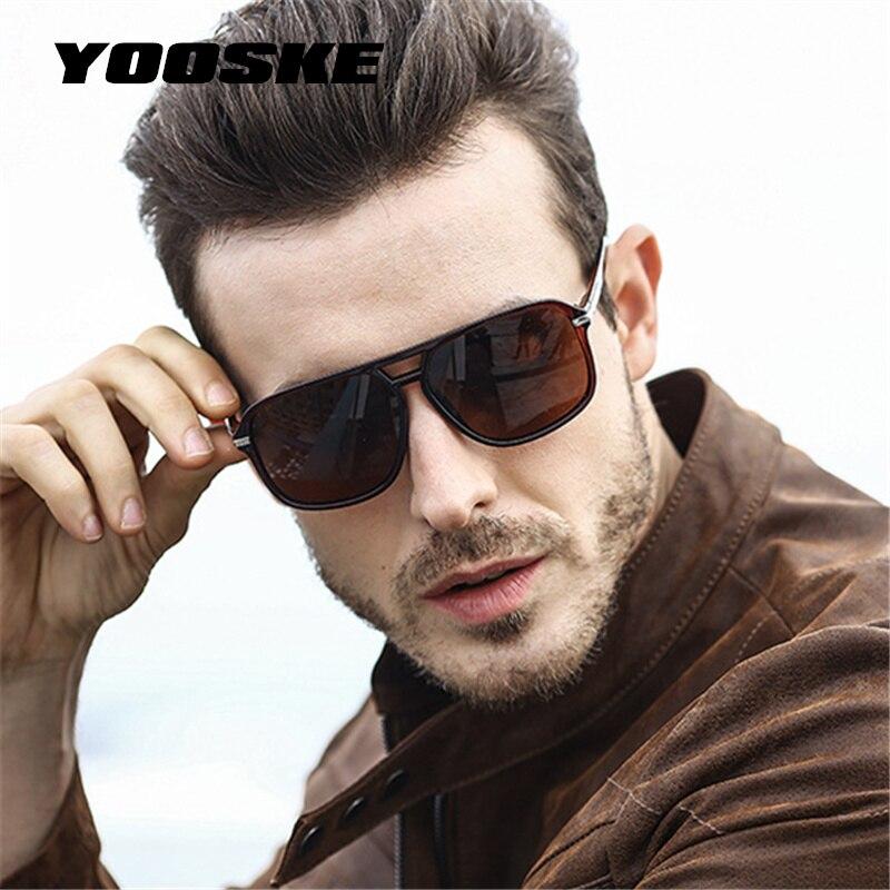 75d8eec056 YOOSKE clásico HD polarizado gafas de sol hombres de conducción 2018 diseño  de la marca gafas de sol hombre espejo Retro de alta calidad gafas de gafas