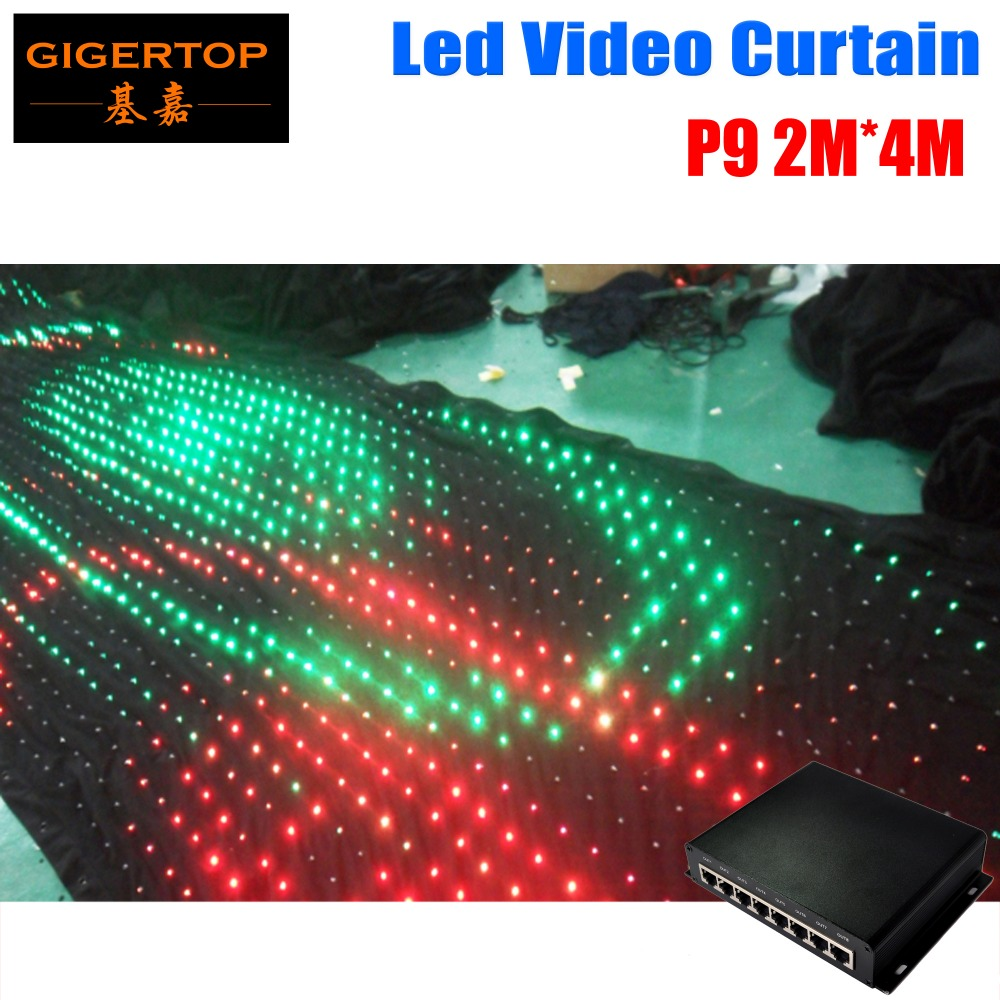 P9 2M*4M Led Vision Curtain With PC Mode Online Controller Fireproof Type Wedding Stage Backdrop Light Curtain Led Moving Cloth
