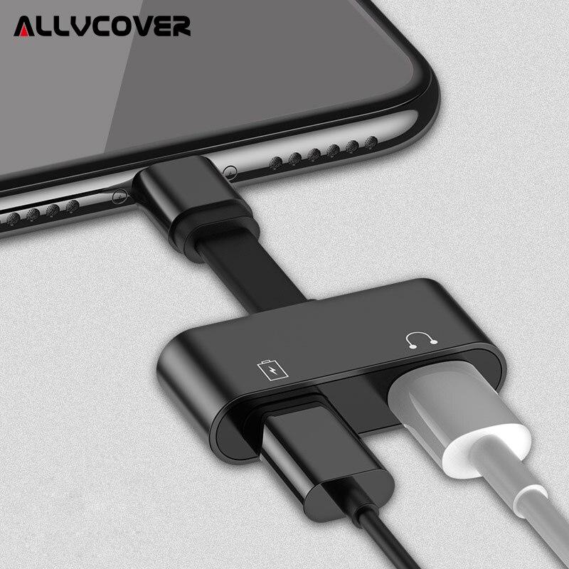 Allvcover 2 en 1 Adaptador de audio de carga para iPhone 7 8 más x IOS cargador divisor auricular Jack cable para relámpago adaptador