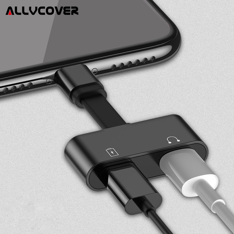 Allvcover 2 in 1 Charging Audio Adapter For iphone 7 8 plus X iOS Charger Splitter Earphone Jack Cable For Lightning Adapter