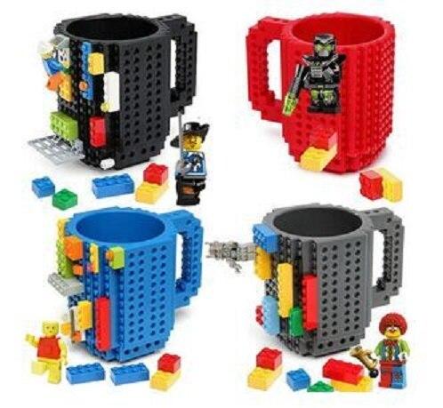 Diy bausteine sets becher wasserflasche kaffee/tasse tee/wasser tasse/wasser tassen/ziegel blöcke becher weihnachtsgeschenk kinder spielzeug