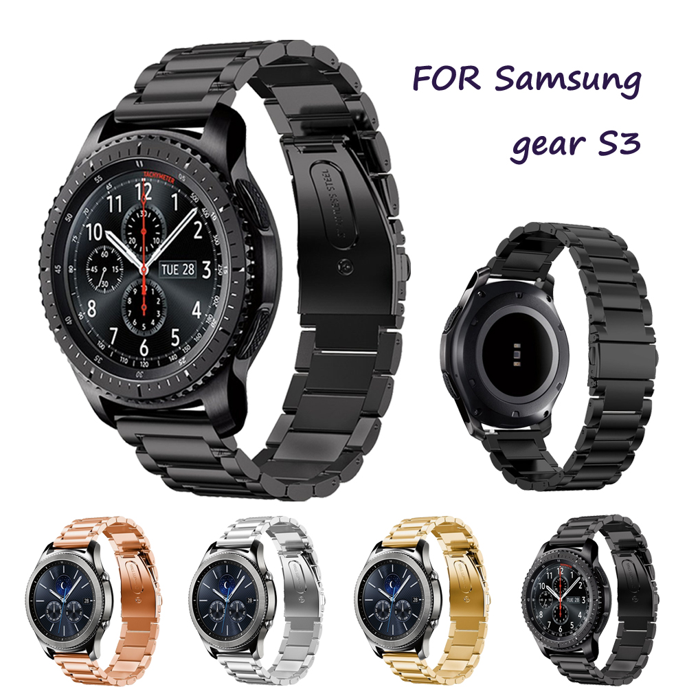 22mm Watch Strap for Samsung Gear S3 Frontier/Classic Band Replacement Smartwatch Stainless Steel link bracelet Accessories silicone sport watchband for gear s3 classic frontier 22mm strap for samsung galaxy watch 46mm band replacement strap bracelet