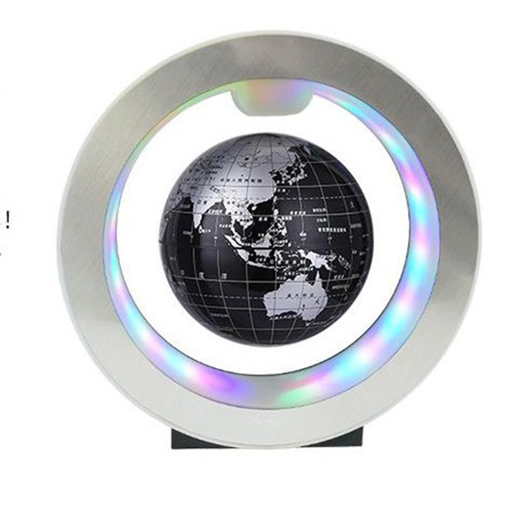 4'' Geography World Globe Magnetic Floating Globe LED Levitating Rotating Tellurion World Map School Office Supply Home Decor