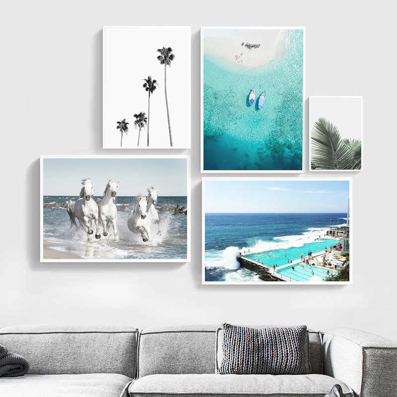 Nordic Style Travel Landscape Ocean Beach Wall Art Print Canvas Poster Scandinavian Print Painting Modern Living Room Decor