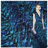 High Grade Fashion Fabric French Design Shiny Sequins Folded Fashion Fabric Sewing Material DIY Women Dress