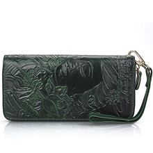 Vintage Extract Tannage Carved Avalokitesvara Women Men Genuine Leather Cowhide Long Wallet Card Holder Clutch Purse Wallets