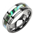 8mm Tungsten Stunning jade & Abalone Stripe Inlaid Wedding Band Ring Men Free Shipping