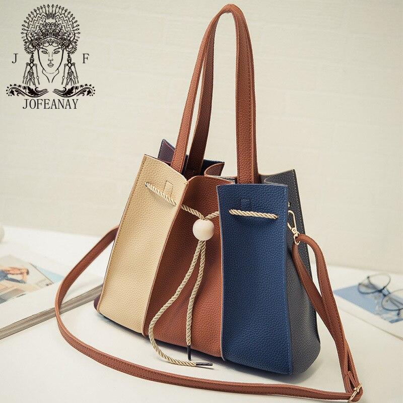 JOFEANAY Shoulder bag Female Korean retro portable Bucket Bag Satchel large hit color drawstring bag simple female bag