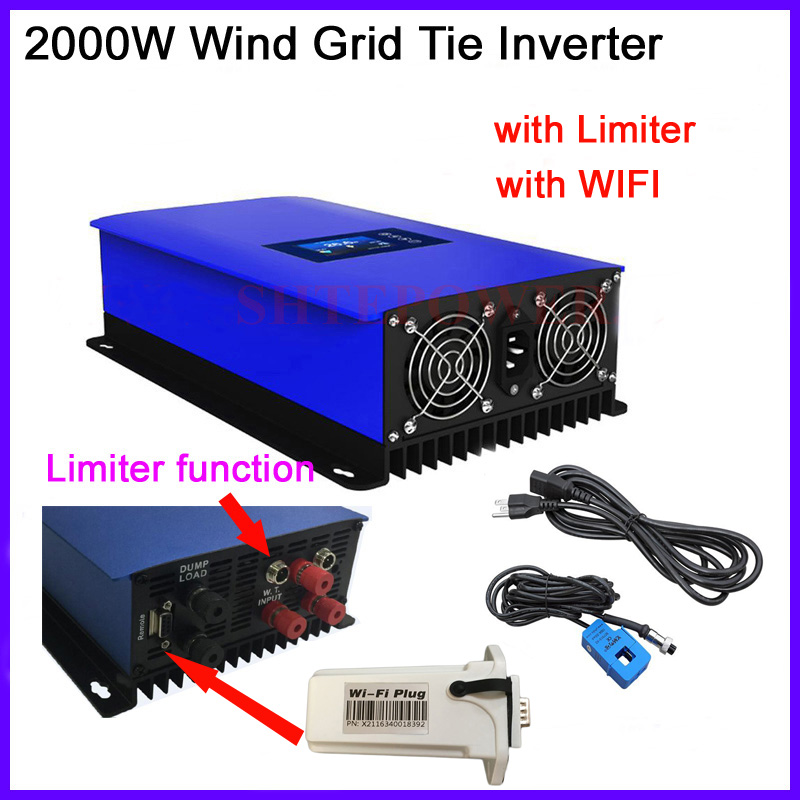 2000W MPPT Wind inverter 2KW LCD display with dump load resistor Grid Tie on inter limiter and wifi plug AC 45-90v input maylar 2000w wind grid tie inverter pure sine wave for 3 phase 48v ac wind turbine 90 130vac with dump load resistor