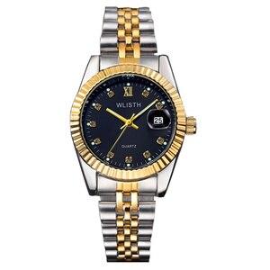Image 3 - Wlisth 여성 시계 여성 시계 패션 숙녀 톱 브랜드 럭셔리 손목 시계 여성 골든 실버 스틸 방수 빛나는