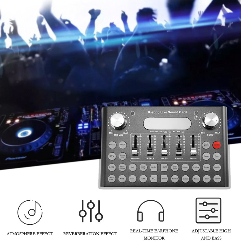 Professional Sound Card Microphone Voice Music Audio Usb Headset Entertainment Karaoke Steamers K-Song Live Sound Card F007