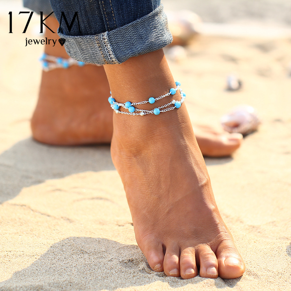 17KM 1PCS Multiple Vintage Anklets For Women Bohemian Ankle Bracelet Cheville Barefoot Sandals Pulseras Tobilleras Foot Jewelry