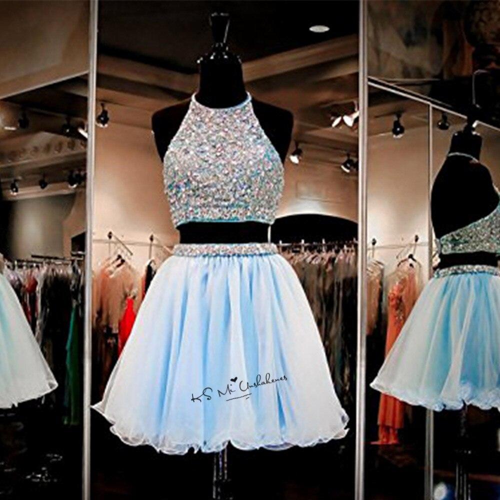 Vestido de Formatura Curto Mezuniyet elbiseleri robes de Graduation pas cher 2 pièce robe de bal courte retour robes cristaux