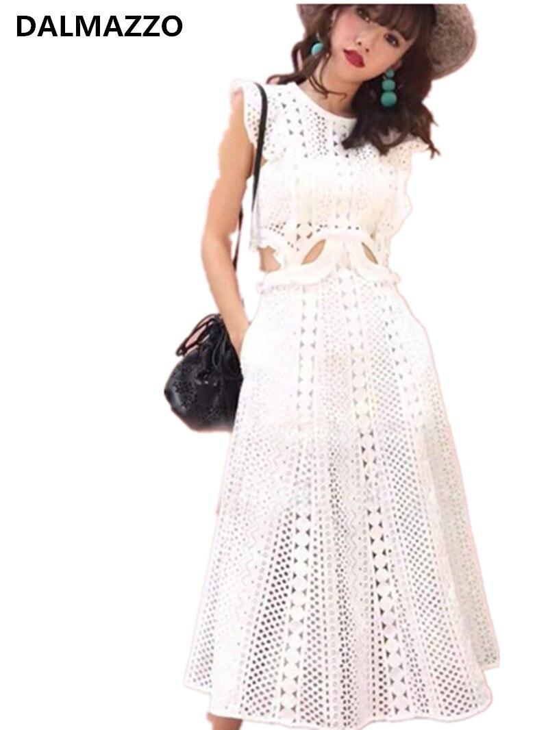 ad5ce985d31 Для женщин без рукавов Вечерние Длинное платье 2019 новый летний бренд  конструкция Автопортрет женщины белые кружева