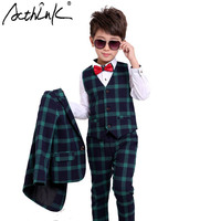 ActhInK New England Style Young Boys Plaid Suits for Wedding Soft and Comfortable Single Button 3pcs Set Suit with Bow Tie,TC126