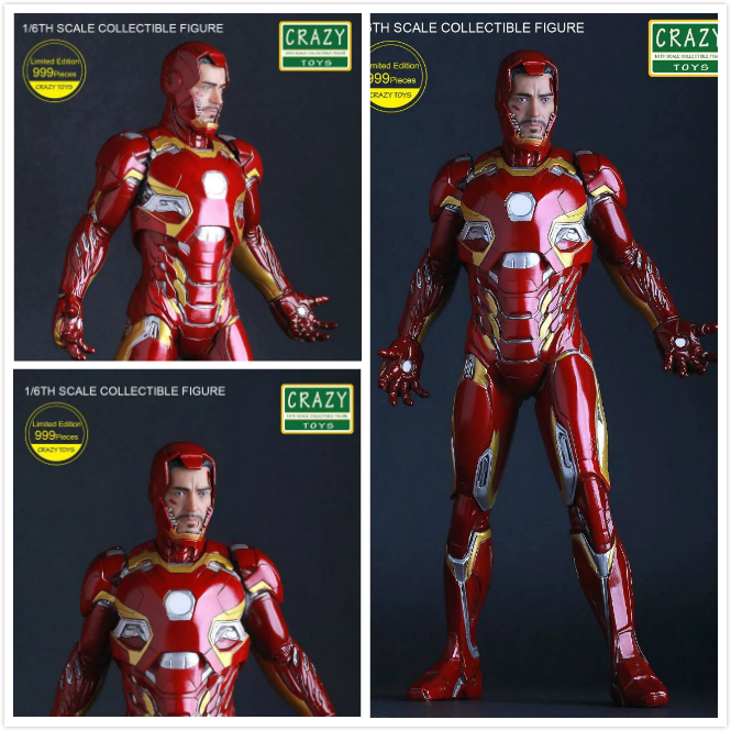 Crazy Toys Captain America Civil War:Iron Man Mark XLV MK45 12 Dolls PVC Figure Resin Collection Model Toy Gifts 1 6 scale male head sculpts model toys downey jr iron man 3 captain america civil war tony with neck sets mk45 model collecti f