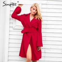 Simplee Elegant trench belt winter coat women Flare sleeve t