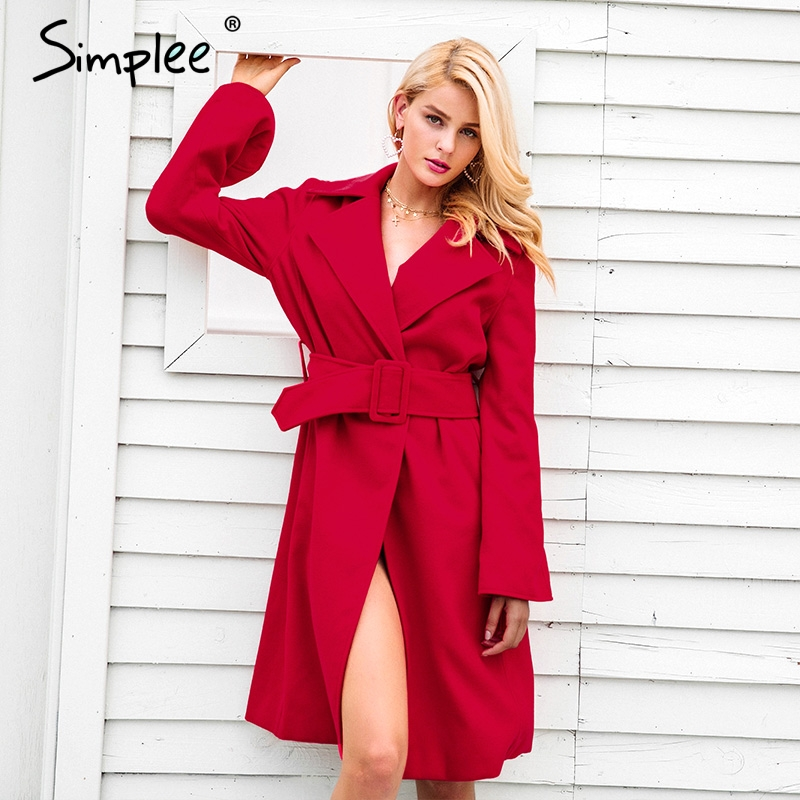 Simplee Elegant trench belt winter coat women Flare sleeve turndown long coat overcoat 2017 Warm outerwear red windbreakers coat