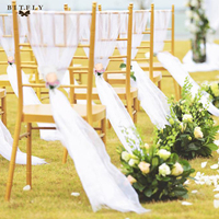 Romantic beach theme wedding 30pcs white Organza Chair Sashes bow tie with flower for Wedding Party Banquet Chair diy Decoration