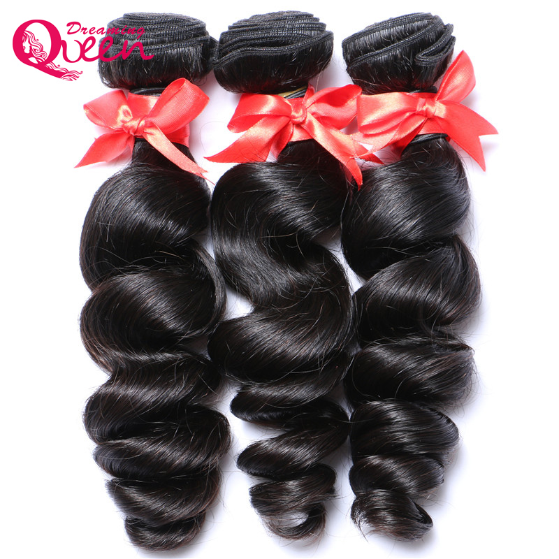 3 Bundles Peruvian Loose Wave With Lace Frontal 100% Human Hair Pre Plucked 13X 4 Lace Closure Dreaming Queen Remy Hair
