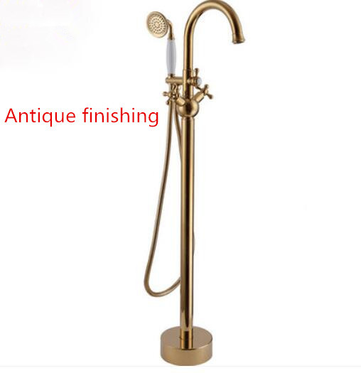 Golden Brass Gold Antique Finished Freestanding Bathtub Mixer Bath