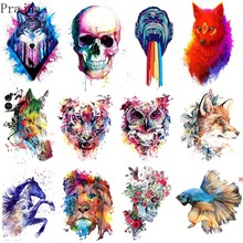 Prajna Iron On Transfer Patch Animals Painting Thermal Vinyl Heat Patches For Clothes Tiger Wolf Applique Sticker