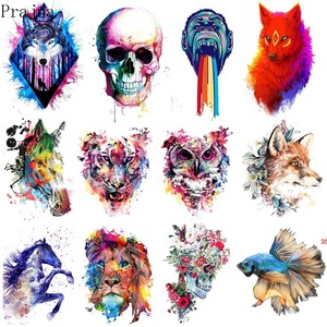 Prajna Iron On Transfer Patch Animals Painting Thermal Vinyl Heat Transfer Patches For Clothes Tiger Wolf Patch Applique Sticker(China)