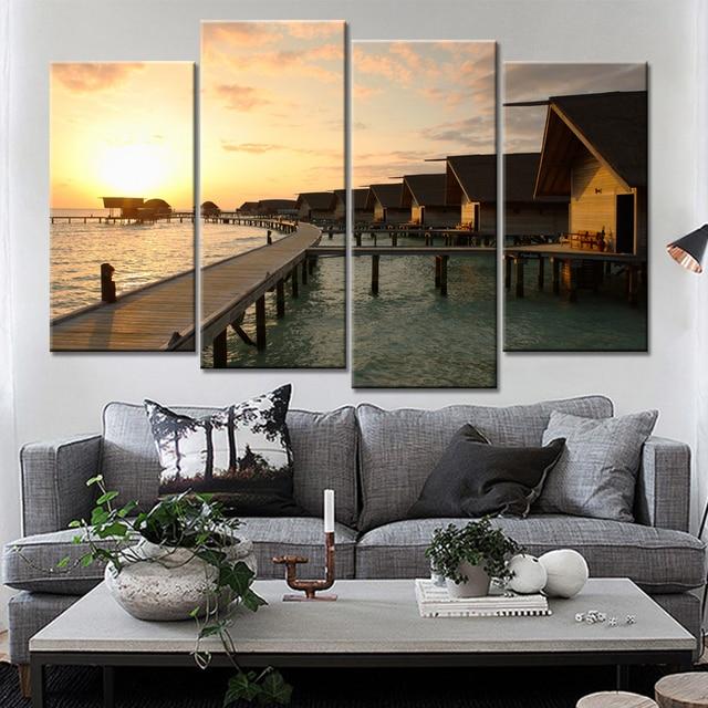Pared arte carteles Decoración para el hogar enmarcado lona 4 panel ...