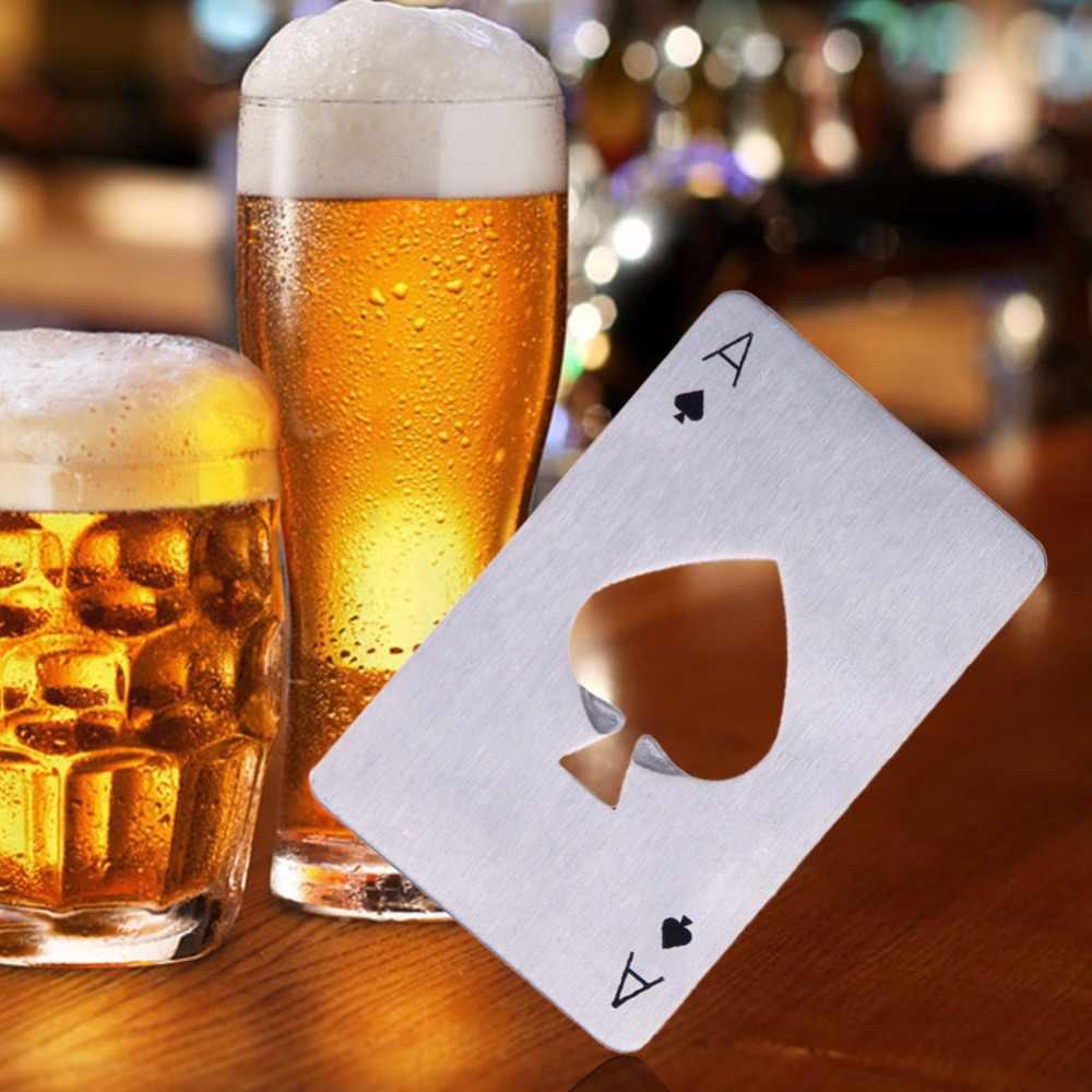Schwarz/Silber Poker Karte Bier Flasche Opener Personalisierte Edelstahl Kreditkarte Flasche Opener Karte von Pik Bar Werkzeug