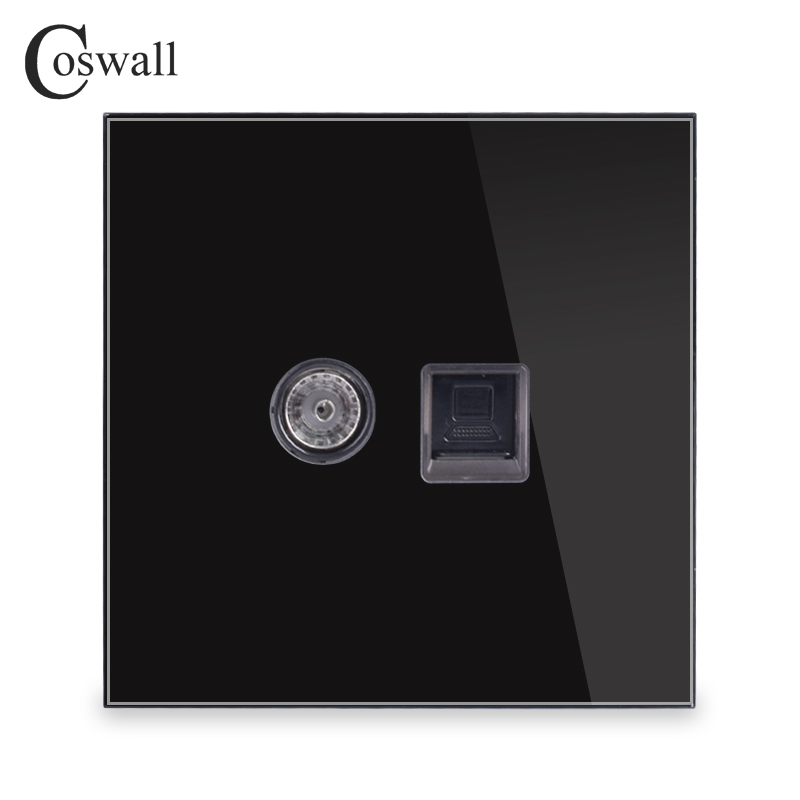 Coswall Crystal Tempered Glass Panel RJ45 CAT5E Internet Jack With TV Outlet Wall Data Computer Socket Black R11 Series
