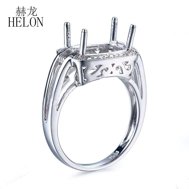 HELON 7x10 مللي متر أحجار بمقطع مشابه لشكل الوسائد 925 فضة الطبيعية الماس النساء الزفاف الخطوبة خاتم بدون فص إعداد مجوهرات فريدة-في خواتم من الإكسسوارات والجواهر على  مجموعة 3