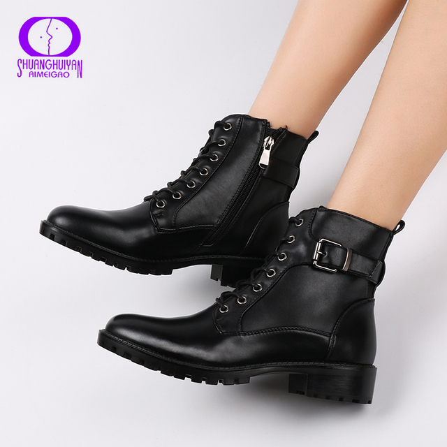 European Style Black Ankle Boots Flats Round Toe Black Zip Martin Boots PU Leather Woman Shoes With Warm Plush
