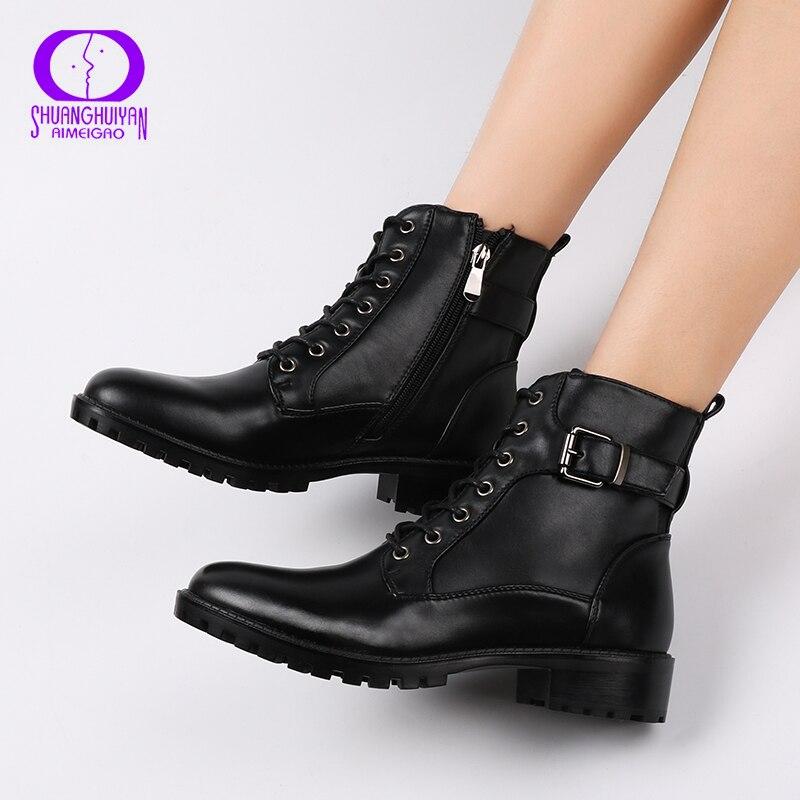 Nueva moda estilo europeo negro tobillo botas pisos redondo dedo del pie negro Zip botas Martin botas de cuero de la PU zapatos de mujer caliente de peluche de juguete