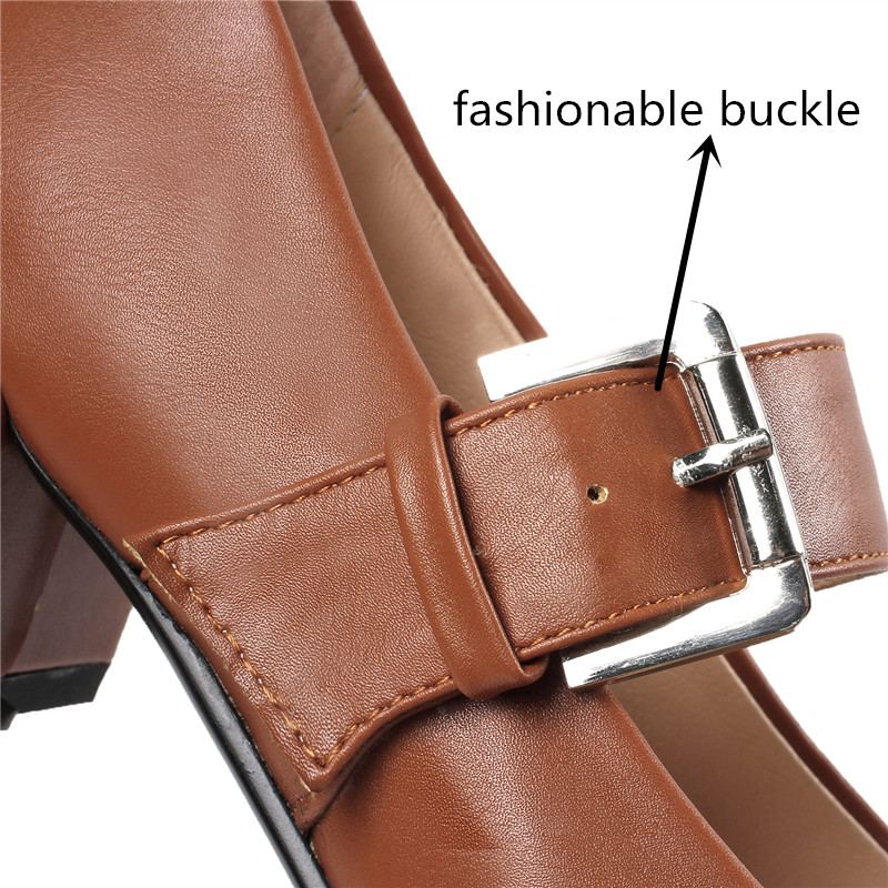 Moonmeek 2019 new arrival women shoes square heel fashionable buckle non slip shoes med heel wedding party dress female shoes in Women 39 s Pumps from Shoes
