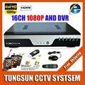 Super AHD-H 16CH AHD DVR Full HD 1080 P Gravador de Vídeo H.264 CCTV Câmera de Rede Onvif 16 Canais NVR IP Multilanguage
